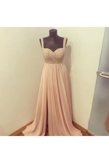 Rochie rose- quartz cu corset brodat cu pietre si perle