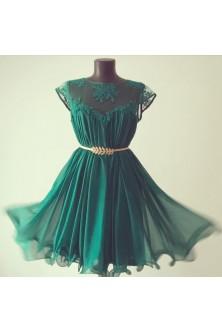Rochie cu tiv ondulat din matase naturala verde smarald