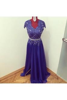 Rochie din broderie cu pietre si voal in clos albastru royal
