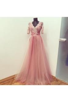 Rochie din broderie nude si tulle in tonuri de rose quartz, roz prafuit, nude si zmeurica