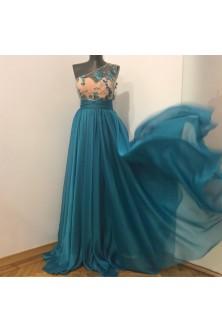 Rochie turquoase din broderie 3D cu fluturi, corset inimioara si clos dublu cu crapatura