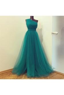 Rochie cu fronseuri din tulle verde marin