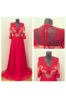 Rochie cu corset realizata din broderie si voal rosu