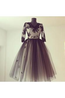 Rochie negru-nude realizata din broderie si tulle