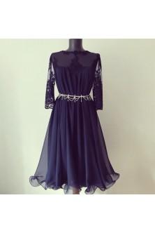 Rochie cu tiv ondulat bleumarin