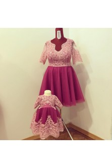 Set mama-fiica din broderie roz prafuit si tulle radiant orchid