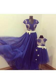 Set mama-fiica albastru royal-nude