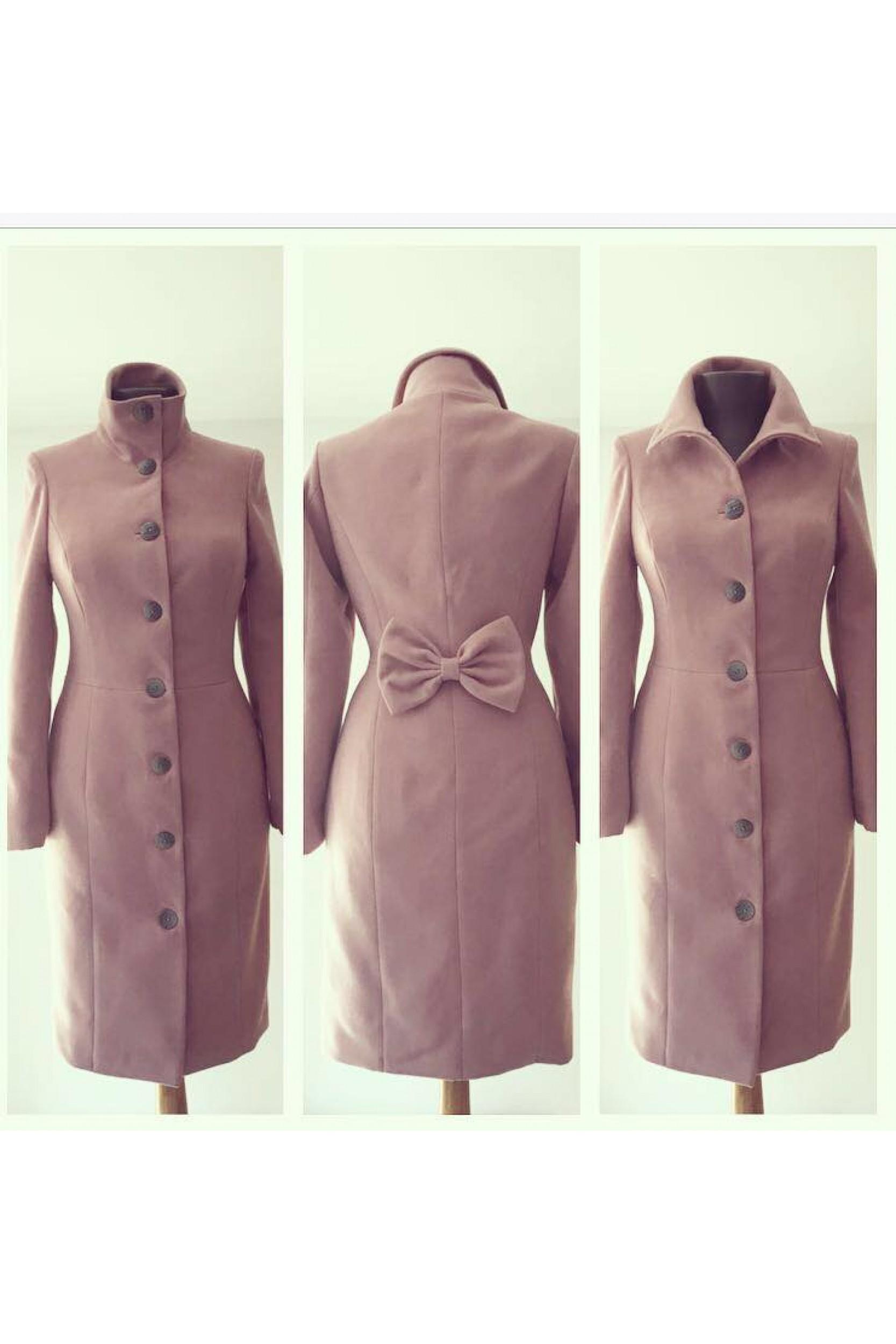 Palton din stofa de lana cu fundita