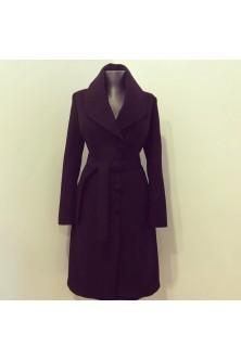 Palton din stofa de lana neagra cu guler sal