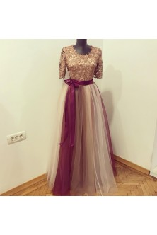 Rochie in tonuri de bronz, cenusiu, nude si burgundy