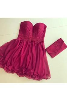Rochie din voal rosu rubin si plic asortat