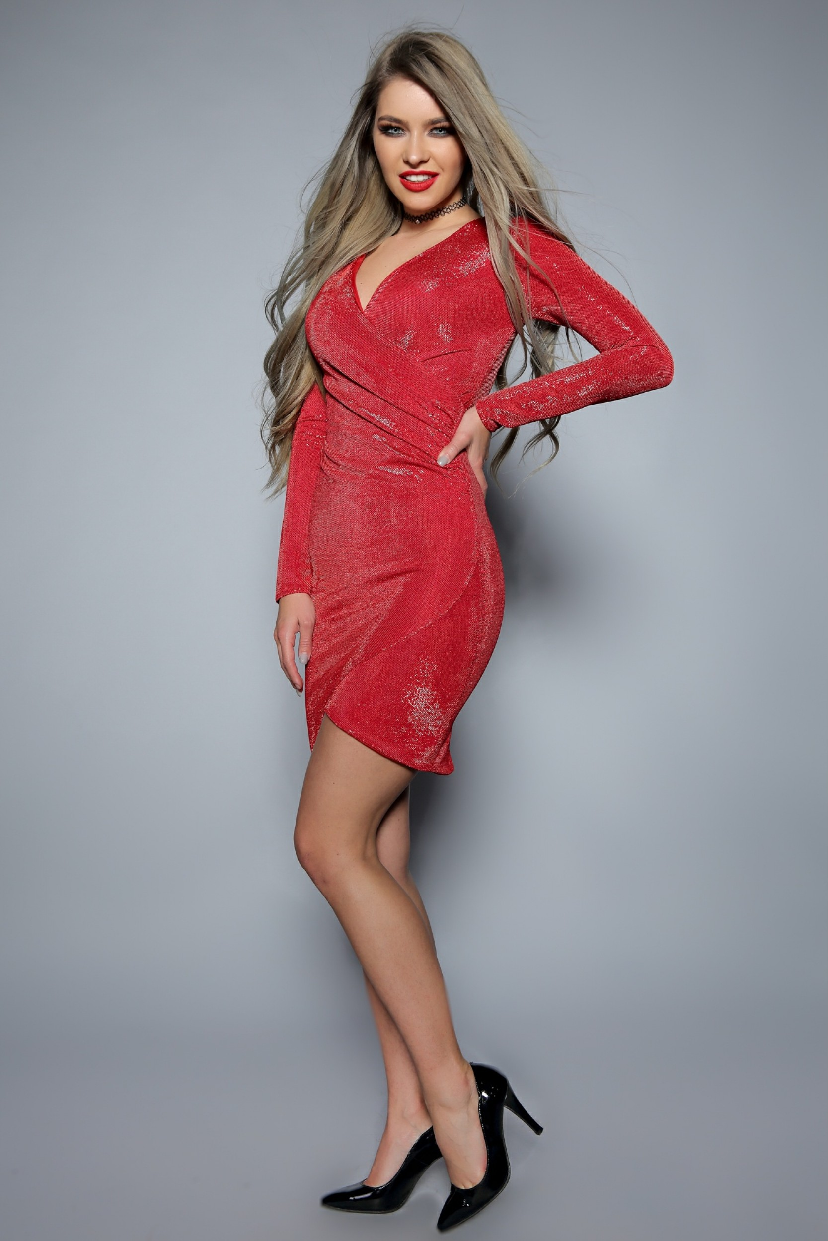 Rochie din lurex rosu