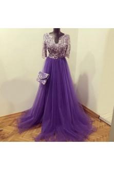 Rochie realizata din broderie cu pietre lila cenusiu si tulle Ultra Violet