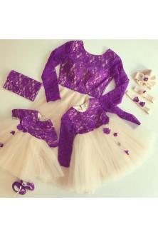 Set mama-fetite din broderie violet si tulle nude