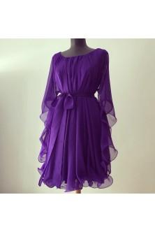 Rochie cu tiv ondulat din voal chiffon Ultra Violet