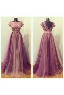 Rochie in tonuri de roz prafuit, mov pruna si lila