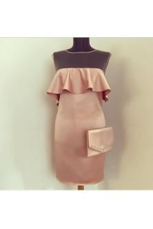 Rochie din tafta Oscar nude-rose