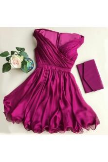 Rochie din voal chiffon rosu rubin, cu corset fronsat