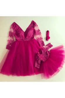 Set mama-fiica din broderie si tulle fuchsia