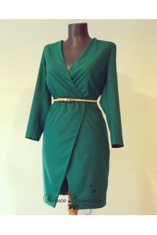 Rochie din france satin stretch verde smarald