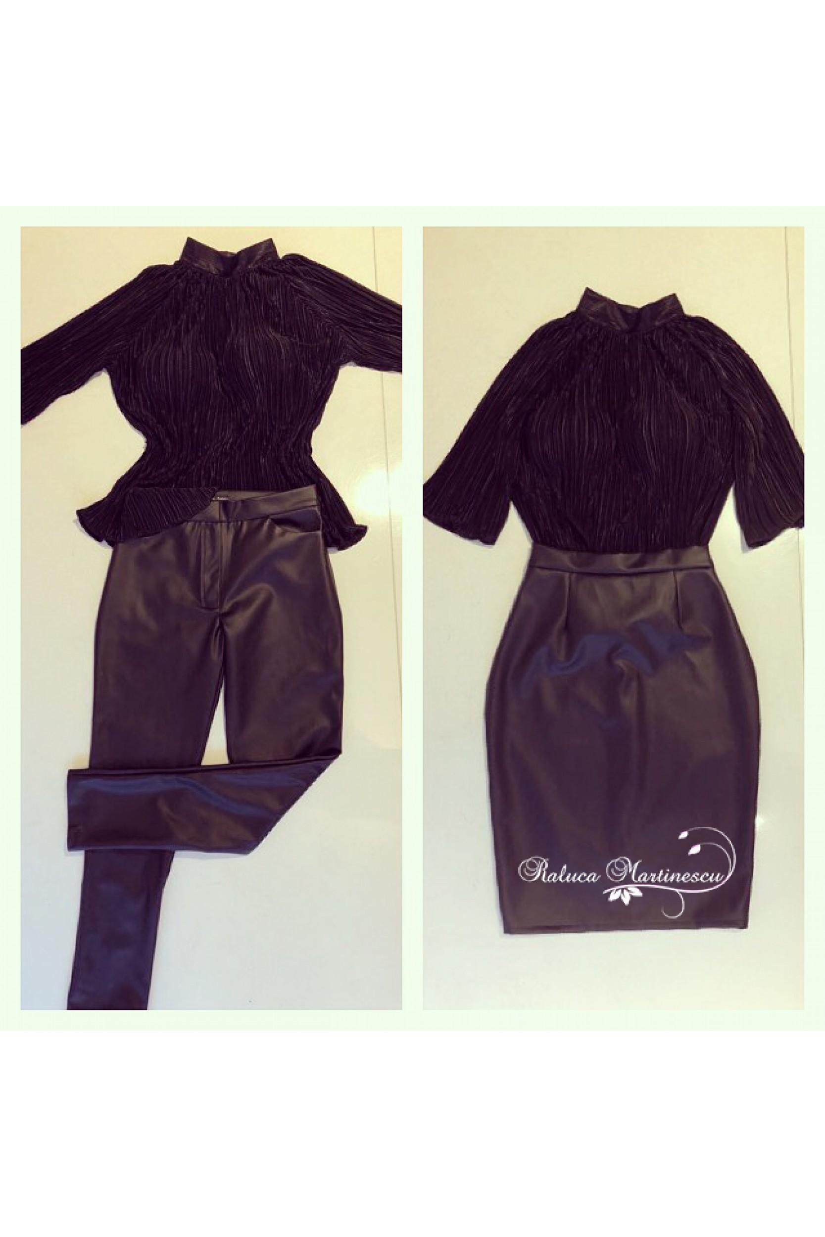 Bluza plisata, fusta si pantaloni din piele ecologica