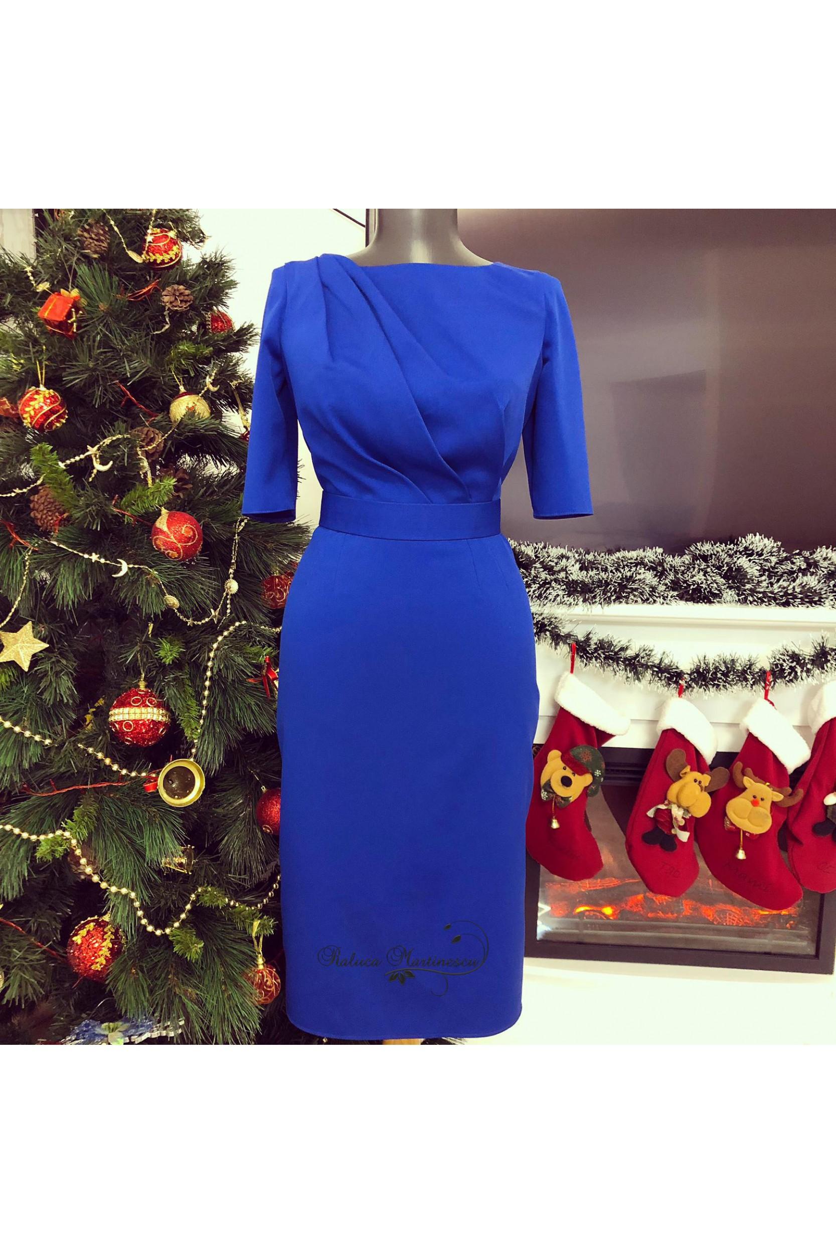 Rochie din stofa royal blue cu drapaje