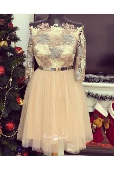 Rochie nude-rose-argintiu