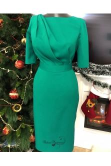 Rochie din stofa royal emerald cu drapaje