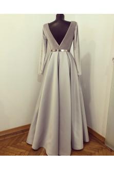 Rochie din catifea si tafta Duchesse gri