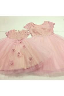 Set mama-fetita din tulle rose quartz si dantela rose