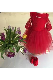 Set rochie, botosei, bentita din tulle fin si broderie rosie
