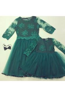Set mama-fetita verde smarald