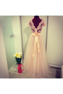 Rochie din tulle si broderie rose quartz
