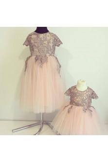 Rochite pentru fetite din broderie roz prafuit si tulle fin nude-rose