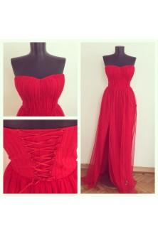 Rochie cu corset din tulle plisat
