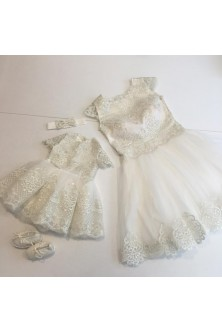 Set mama-fiica din broderie si tulle ivory