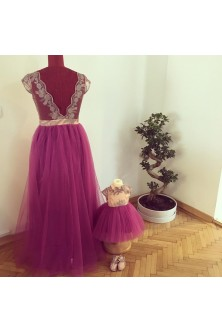 Set mama-fiica din broderie roz prafuit si tulle fin mov electric