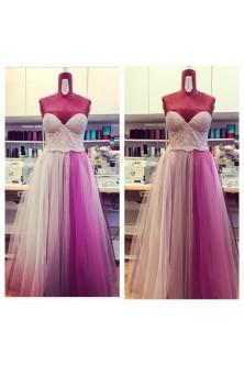 Rochie cu corset in tonuri de cenusiu, roz prafuit, rose quartz, mov electric si mov pruna