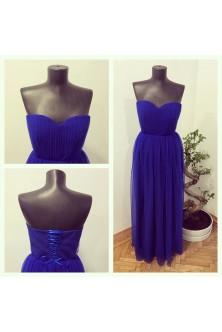 Rochie din tulle plisat albastru regal
