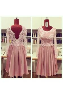 Rochie din broderie cu pietre si perle si voal in clos dublu roz prafuit
