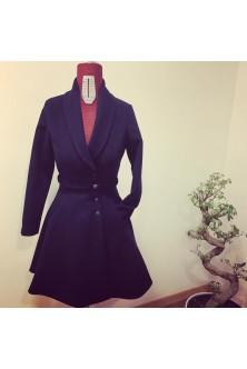 Palton din stofa de lana neagra