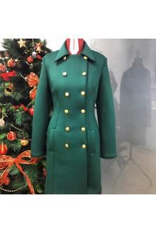 Palton verde smarald cu butoni aurii
