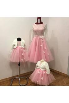 Set mama-fetite din dantela ivory si tulle crystal roz