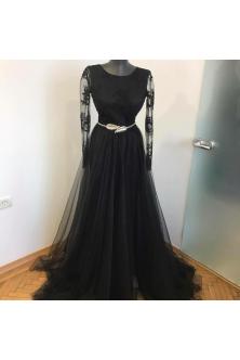 Rochie din broderie si tulle fin negru