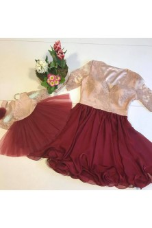 Set mama-fiica din broderie nude, voal si tulle marsala