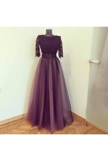 Rochie din broderie neagra si tulle fin in tonuri de mov pruna, roz prafuit, rose quartz, cenusiu si negru