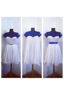 Rochie cu tiv ondulat din voal alb si broderie albastra