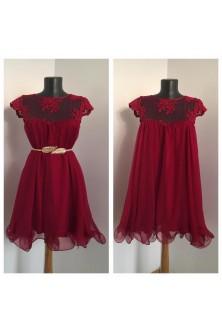 Rochie cu tiv ondulat, in clos dublu din matase naturala rosu rubin