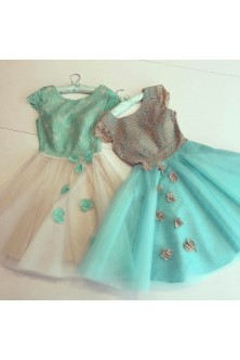 Set rochii babydoll in tonuri de verde menta, bej si crem