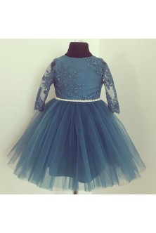 Rochie de fetita realizata din broderie si tulle London Blue